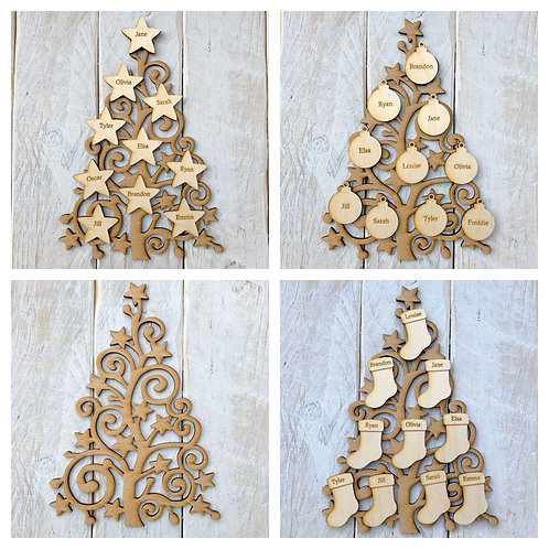 MDF Christmas Tree SS with Plywood Engraved Name Tags