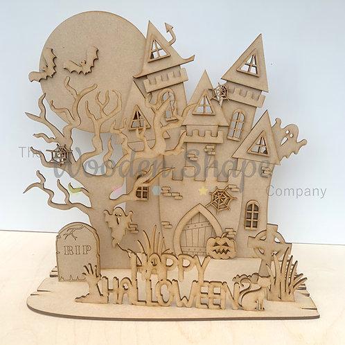 3D Halloween Haunted House Scene