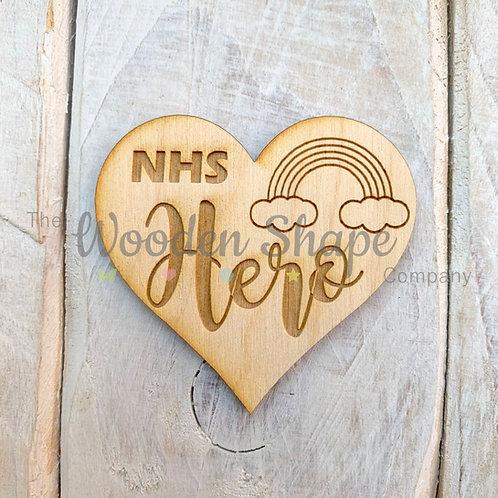 Plywood Engraved Heart NHS Hero Token 5 Pack