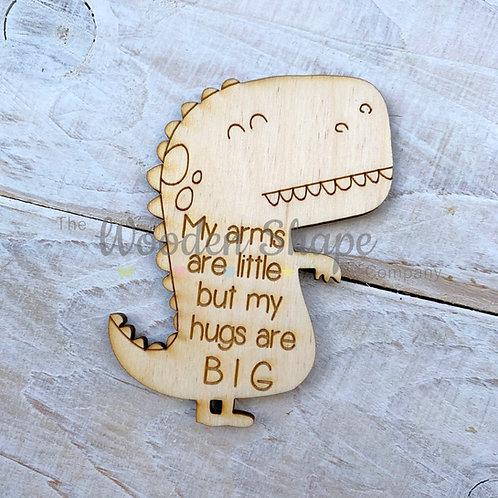 Plywood Engraved Dinosaur Hug Little Pocket Hug 5 Pack
