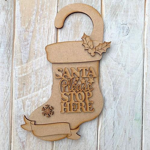 Door Hanger Layered Santa Please Stop Here Stocking