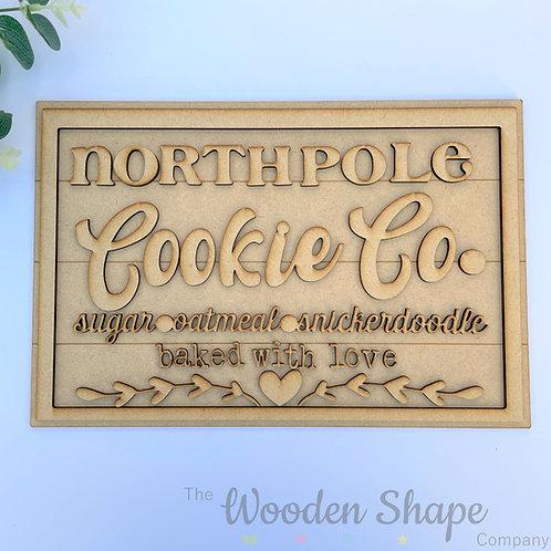30cm MDF Sign North Pole Cookie Co RLI