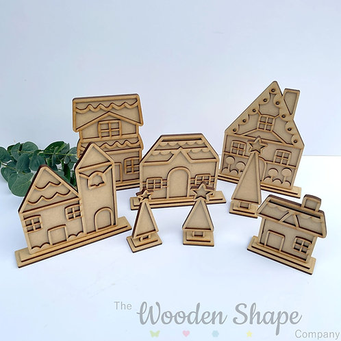 3D Winter Village Assorted Houses & Trees