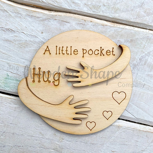 Plywood Engraved Circle Layered Hugging Arms Little Pocket Hug 5 Pack