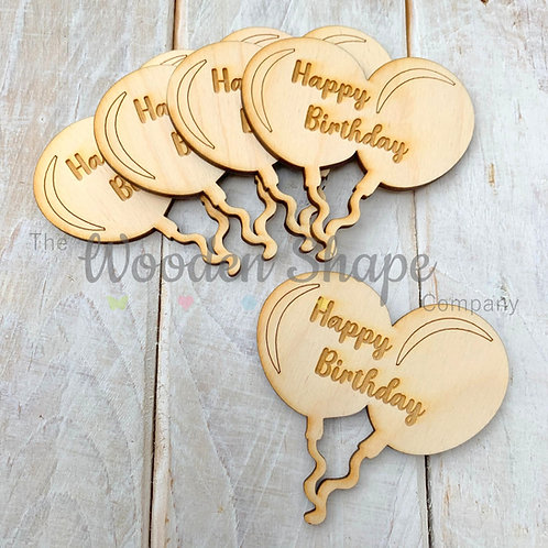 5 Pack Engraved Card Sentiment Balloons Happy Birthday