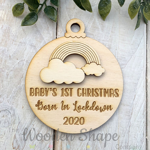 Plywood Christmas Decoration Bauble Lockdown 2020 Born