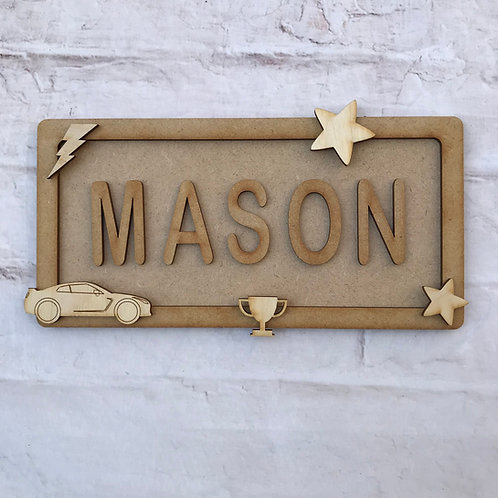 Car Theme Room Sign Small (up to 6 letters)