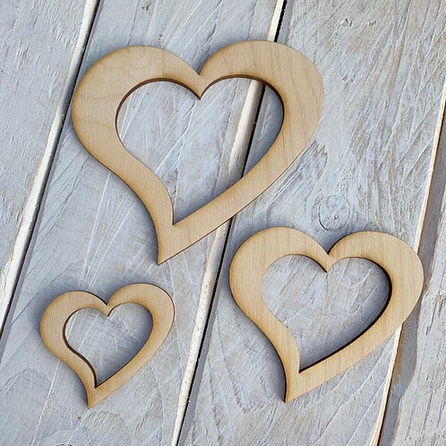Plywood Heart Outline 10 Pack