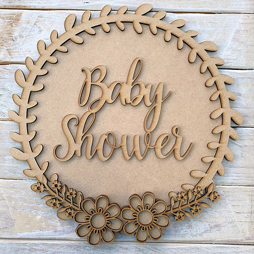 Laurel 1 Layered Hoop Kit Backboard with Baby Shower