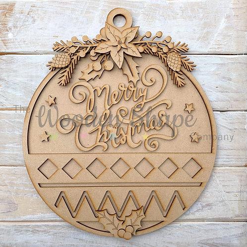 Layered Christmas Bauble Merry Christmas Sign