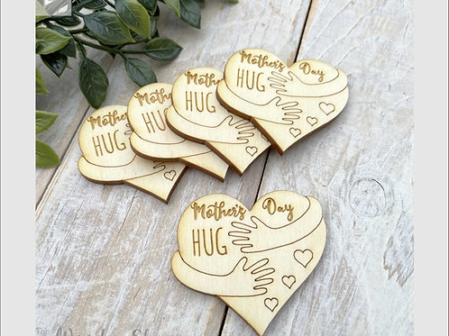 Plywood Engraved Heart Hugging Arms Mother's Day Hug 5 Pack