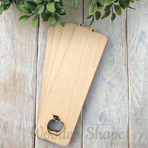 4 Pack Birch Plywood Bookmark Apple