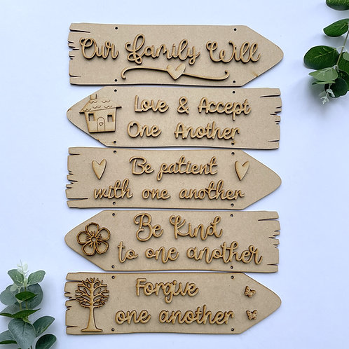 Our Family Will Theme Direction Sign