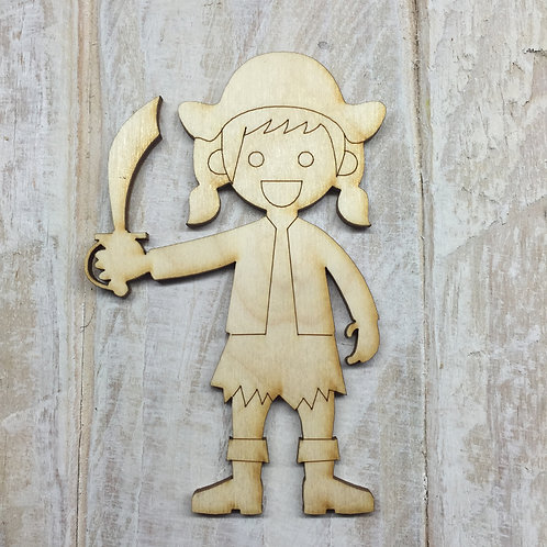 Plywood Pirate Girl Shape 10 PACK