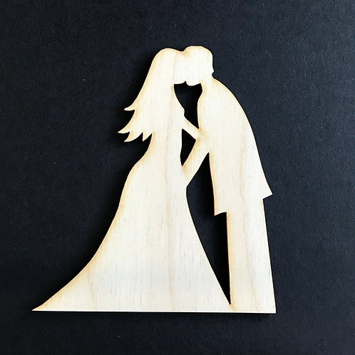 Plywood BRIDE & GROOM KISS Shape 10 PACK