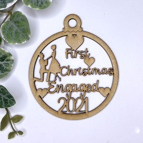 MDF Bauble First Christmas Engaged 2021