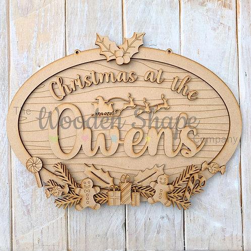 Layered Christmas Oval Christmas at the Sign