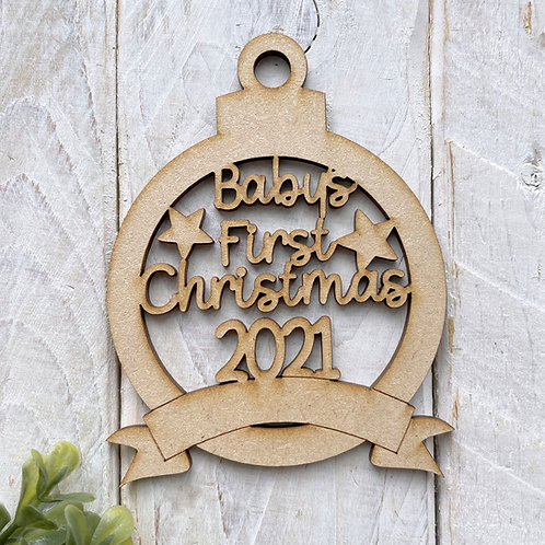 MDF Bauble Baby's First Christmas 2021 with Banner