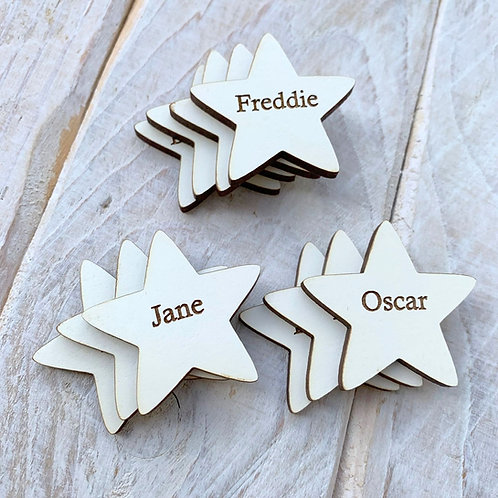 Engraved White Christmas Star Tags