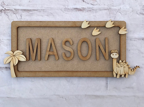 Dinosaur Theme Room Sign Small (up to 6 letters)