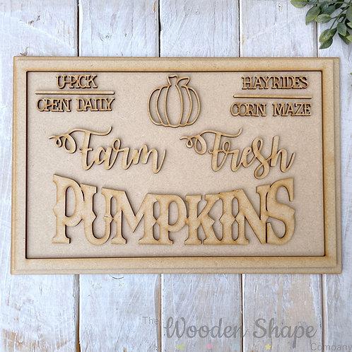 30cm MDF Sign Kit Farm Fresh Pumpkins RP