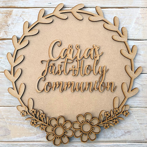 Laurel 2 Layered Hoop Kit Backboard with First Holy Communion Personalis