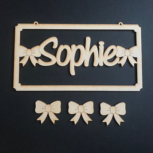 MDF Hair Bow Clip Holder Plaque Word Art ADD YOUR NAME