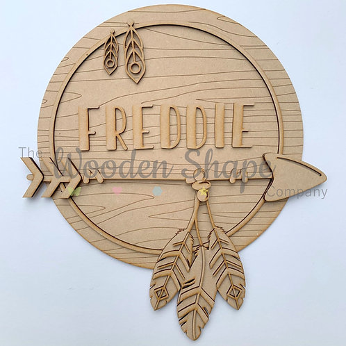 Layered Tribal Boho Circle Arrow  with Name & Feathers