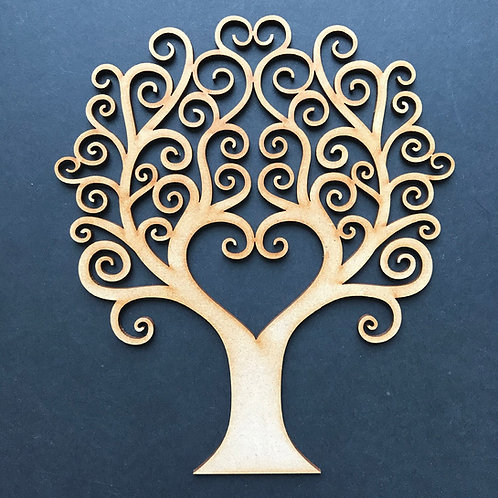 MDF Wooden Tree Code Curly Heart
