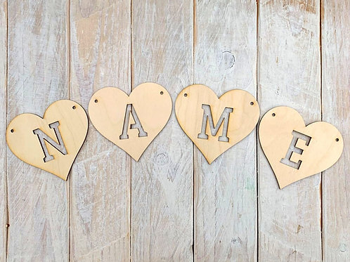 Bunting Heart Letters Cut Out