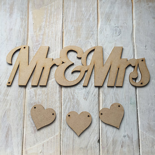 MDF Wood MR & MRS Hanging Plaque with Hearts