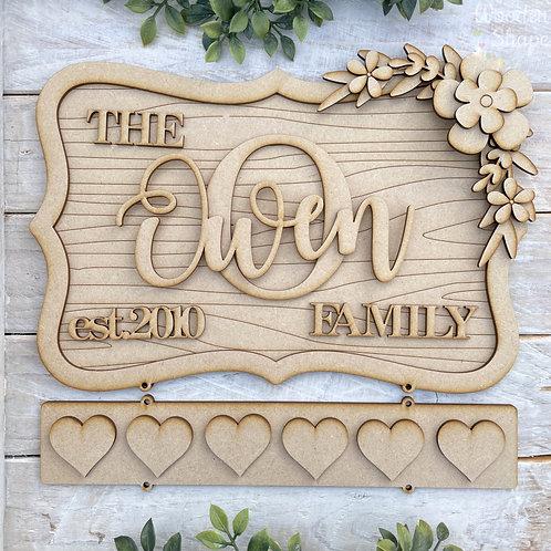 30cm Ornate Layered MDF Family Established Plaque ORWG