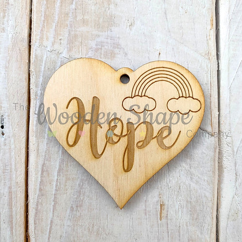 Plywood Engraved Heart Hope Token or Keyring 5 Pack