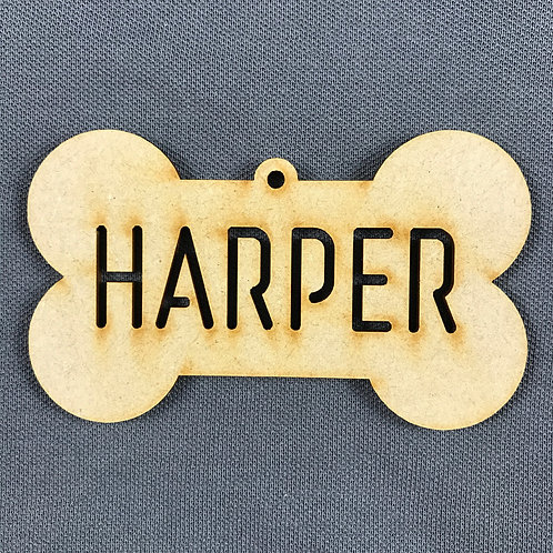 MDF Bauble Bone with Name Added