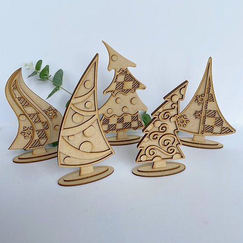 MDF Freestanding Wonky Christmas Tree Set