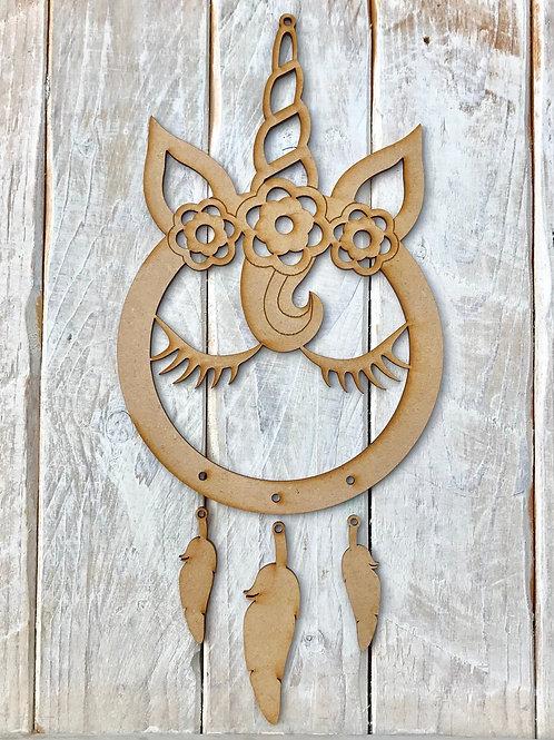 Dream Catcher FLORAL Unicorn Horn Face FLORAL