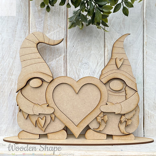 MDF Freestanding Gnome Gonk Couple Heart Frame Gnome Couple