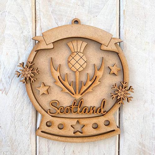 Layered Snow Globe Bauble Scotland Thistle