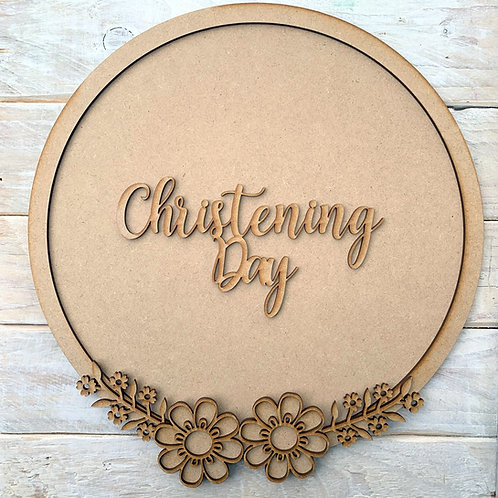 Layered Hoop Kit Backboard with Christening Day