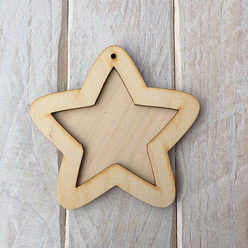 Plywood STAR Shape Plaque Frame Blank Craft Shape