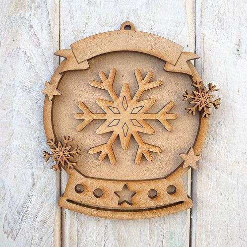 Layered Snow Globe Bauble Snowflake