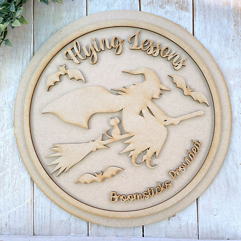 30cm MDF Circle Halloween Plaque Flying Lessons