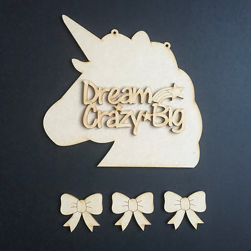 MDF Hair Bow Clip Holder Plaque Unicorn +Wording