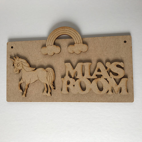 MDF Unicorn Room Sign Unicorn D