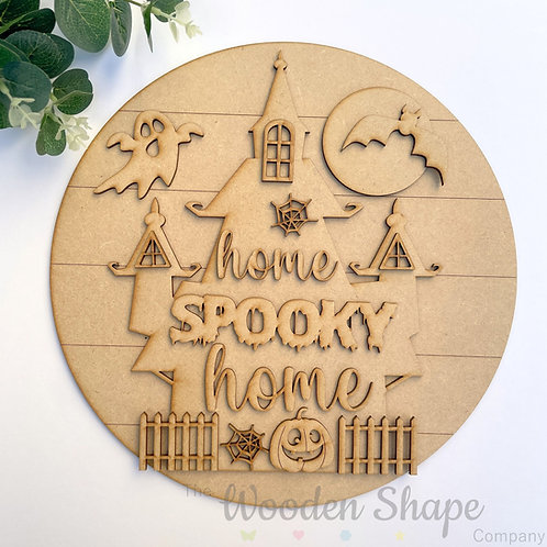 30cm MDF Sign Kit Home Spooky Home CLI