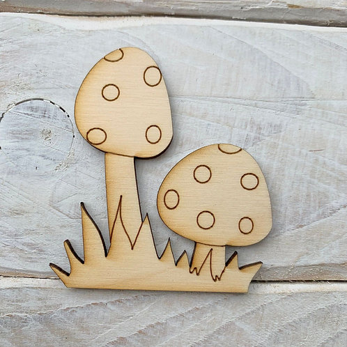 6 Pack Wooden Fairy Double Toadstool