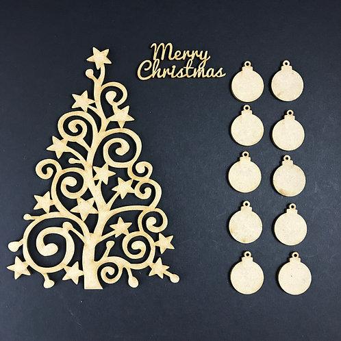 MDF Wooden Tree Code Christmas Swirl Star Kit