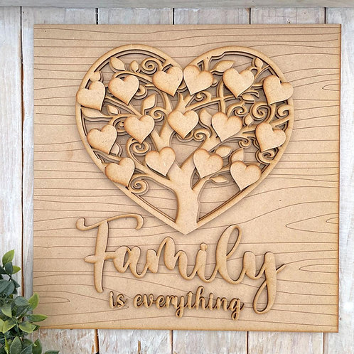 30cm Square Multi Layered MDF Tree Heart Family is Everything