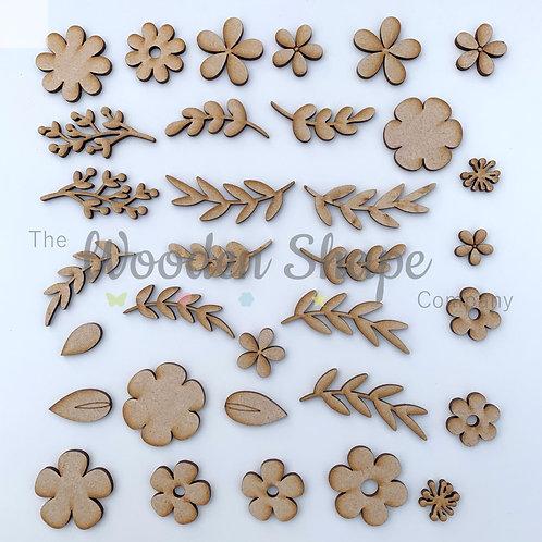 Flower Floral Laurel Pack B 33 Pieces