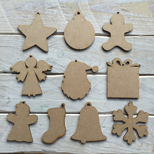 MDF 10 Pack Christmas Decorations Assorted Shapes